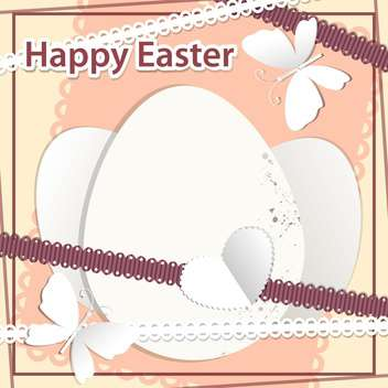 happy easter vector illustration with white eggs and butterflies - Free vector #130785