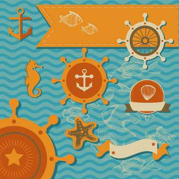 Vector set of sea fauna and marine things - vector gratuit #130795