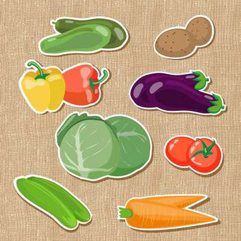 colorful illustration of fresh vegetables on brown background - vector gratuit #130805