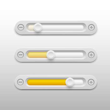 Volume sliders set on grey background - vector gratuit #130835