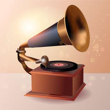 Vintage gramophone vector illustration - Kostenloses vector #131125