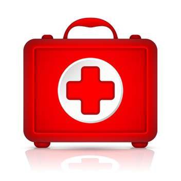 Red first aid kit vector illustration - Free vector #131225