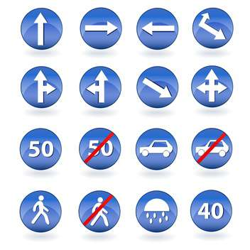 Circle blue road signs vector illustration - Free vector #131265