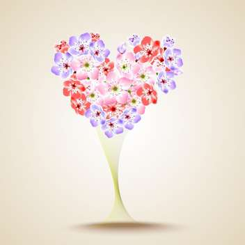 Floral heart shape vector illustration - vector gratuit #131285