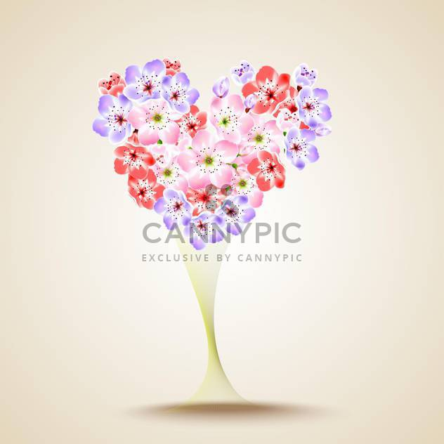 Floral heart shape vector illustration - Free vector #131285