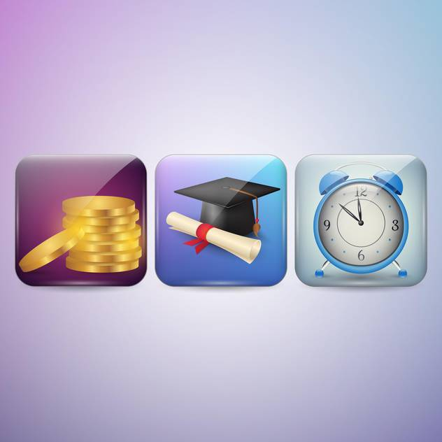 Diploma, clock and money icons vector illustration - vector #131295 gratis