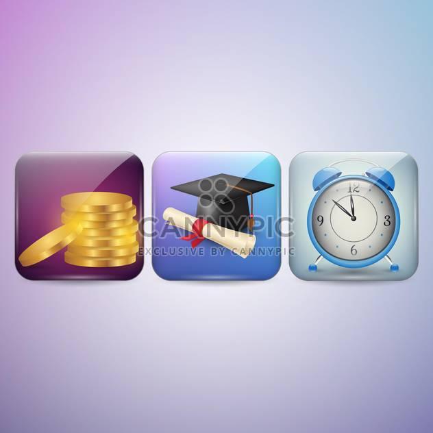Diplom, Uhr und Geld Icons Vektor-illustration - Kostenloses vector #131295