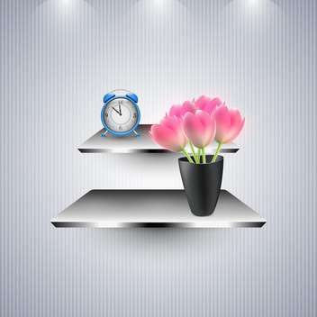 Alarm clock and flowers on the shelves - бесплатный vector #131415