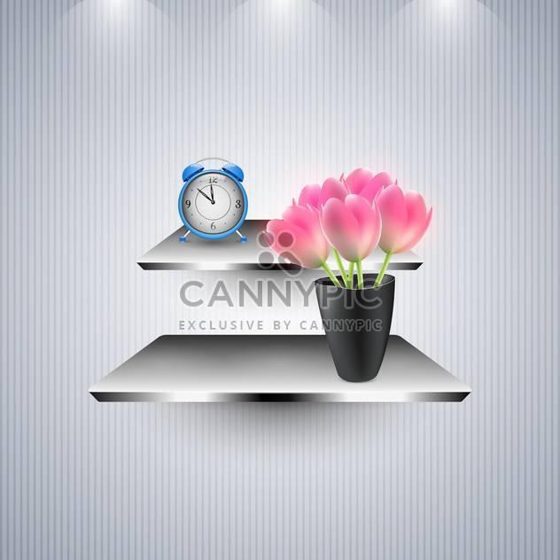 Wecker und Blumen in den Regalen - Free vector #131415