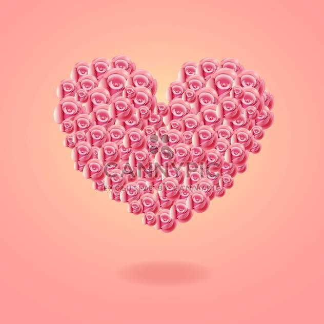 Heart card made of roses on pink background - Free vector #131495