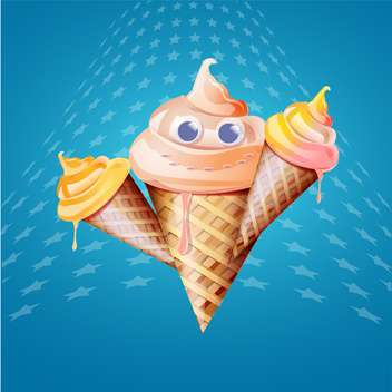 Ice cream cones vector illustration on blue background - vector #131505 gratis