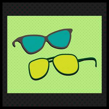 Retro sunglasses on green backgrund with black frame - vector gratuit #131565