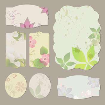 Collection of floral retro grunge labels, banners and emblems - vector gratuit(e) #131595