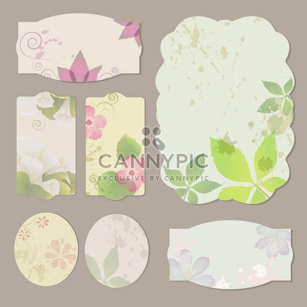 Collection of floral retro grunge labels, banners and emblems - Free vector #131595