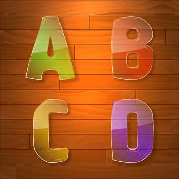 Colorful glass vector font on wooden background - бесплатный vector #131635