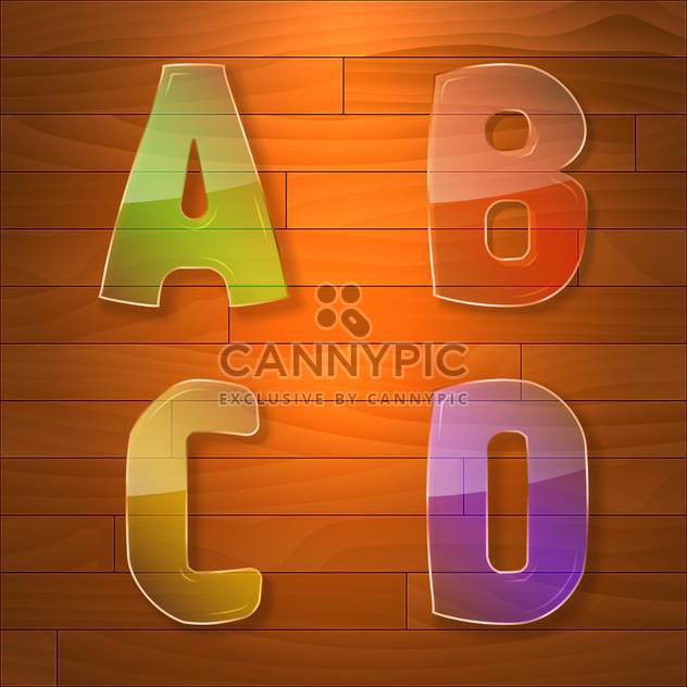 Colorful glass vector font on wooden background - Free vector #131635