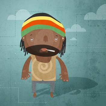 Vector grunge background with rastaman - Free vector #131775