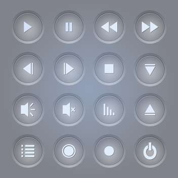 Vector set of media player icons on grey background - vector gratuit(e) #131795