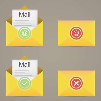 Yellow e-mail icons on grey background vector illustration - Free vector #131915