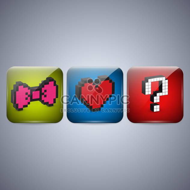 Vector set of pixel icons with bow, heart and question mark - Free vector #131945