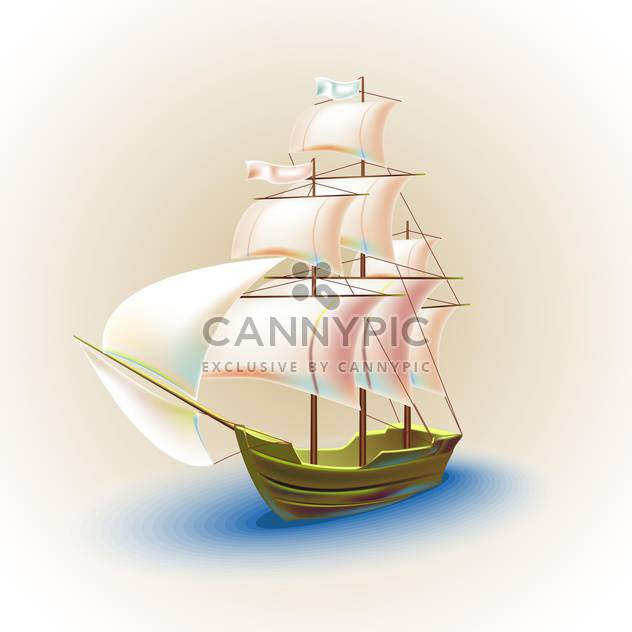 Old ship with sails in the sea vector illustration - Free vector #131955