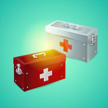 Vector illustration of first aid boxes on blue background - vector gratuit #132005