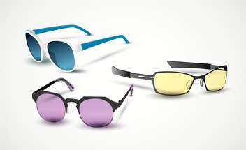 Different vector sunglasses on white background - vector gratuit(e) #132025