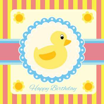 Vector illustration of childish greeting card with duck - бесплатный vector #132065