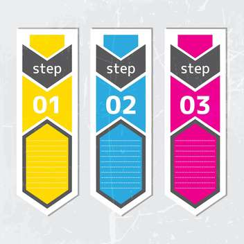 Set of colorful vector labels with three steps - vector gratuit #132235