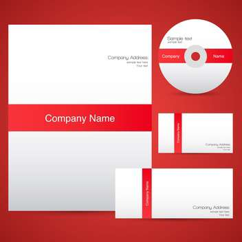 Red corporate identity templates with cd - Free vector #132255