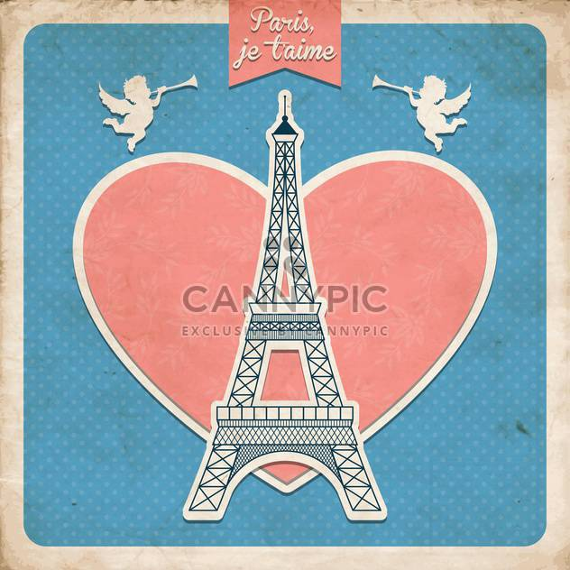 Vintage greeting card in french style with Eiffel tower with heart and angels - Free vector #132265