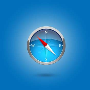 Glossy compass on blue background,vector illustration - vector gratuit #132275