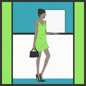 Stylish cartoon woman in green dress standing near the reception desk - vector gratuit #132295