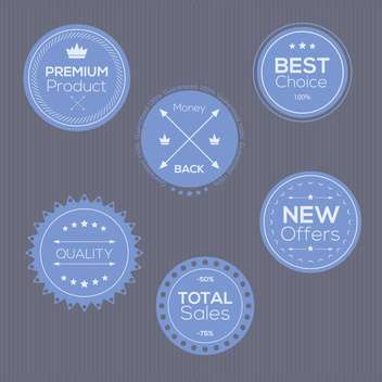 Set of vintage blue badges and labels on black background - Free vector #132315