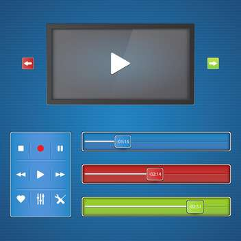 Media player interface on blue background - Free vector #132325