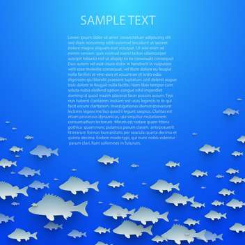Blue abstract vector background with fish - vector gratuit #132395