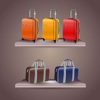set of colorful travel bags on gray background - бесплатный vector #132455