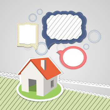 house mockup with speech bubbles - vector gratuit #132505