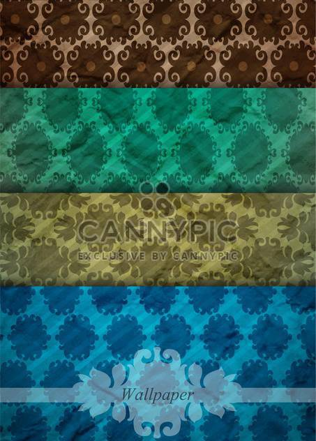 retro damask wallpaper set backgrounds - Free vector #132615
