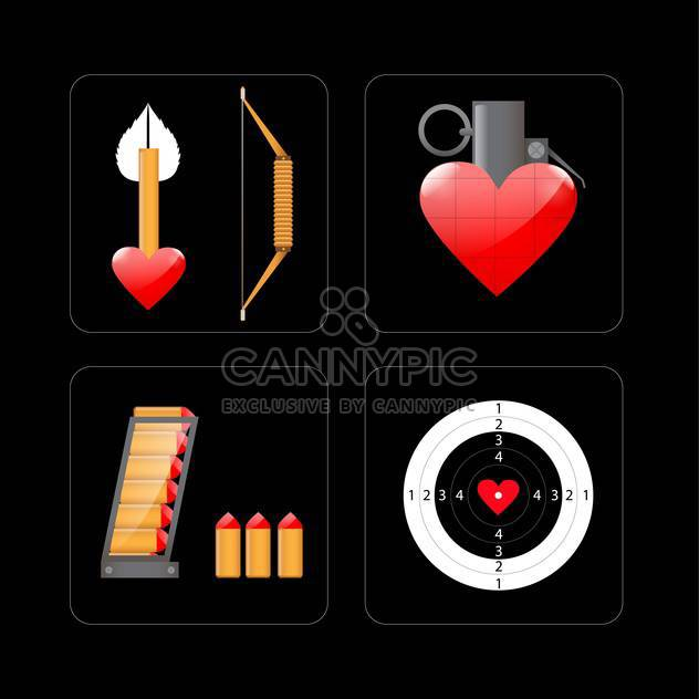 shooting target and objects with hearts - Free vector #132895