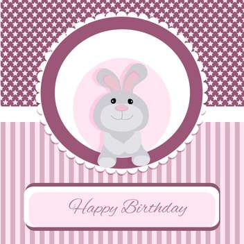 happy birthday greeting card with rabbit - бесплатный vector #133445
