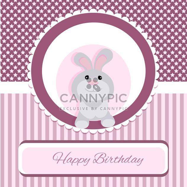 happy birthday greeting card with rabbit - Free vector #133445