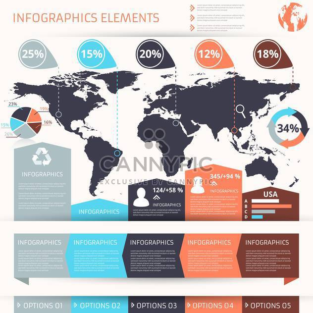 set of business infographics elements - Free vector #133655