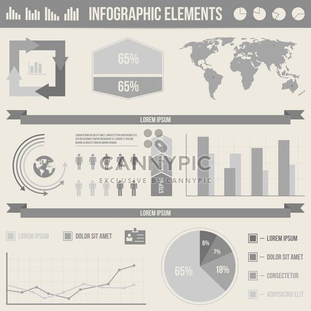 set elements of business infographics - Free vector #133675