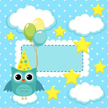 owl with balloons on card background - vector gratuit(e) #133795