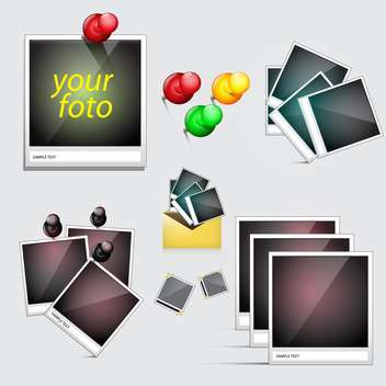 photo frames with pin icons set - vector gratuit(e) #133845