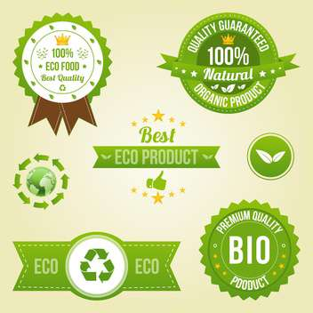 eco labels in retro design style - vector gratuit #134025