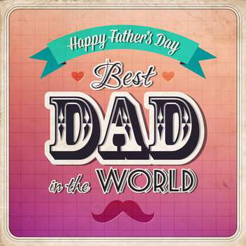 retro happy father's day card - vector gratuit #134055