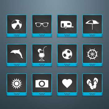 summer icons vacation background - vector gratuit #134125