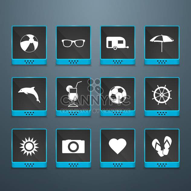 summer icons vacation background - Free vector #134125